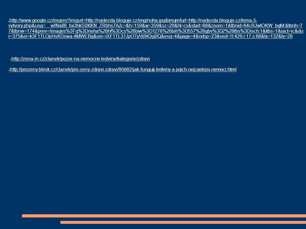 ● http://www.google.cz/imgres imgurl=http://nadezda.bloguje.cz/img/noha.jpg&imgrefurl=http://nadezda.bloguje.cz/tema-5- vytvory.php&usg=__wfNa86_bx3hkS0KKN_ZRbhs7AJc=&h=159&w=359&sz=29&hl=cs&start=68&zoom=1&tbnid=64cRJwlOKW_bgM:&tbnh=7 7&tbnw=174&prev=/images%3Fq%3Dnoha%26hl%3Dcs%26biw%3D1276%26bih%3D557%26gbv%3D2%26tbs%3Disch:1&itbs=1&iact=rc&du r=375&ei=k3F1TLOpHsKGswa-4MWEBg&oei=iXF1TL37JpO7jAfj9K3gBQ&esq=4&page=4&ndsp=23&ved=1t:429,r:17,s:68&tx=132&ty=28 ● http://zena-in.cz/clanek/pozor-na-nemocne-ledviny/kategorie/zdravi ● http://prozeny.blesk.cz/clanek/pro-zeny-zdravi-zdravi/95682/jak-funguji-ledviny-a-jejich-nejcastejsi-nemoci.html