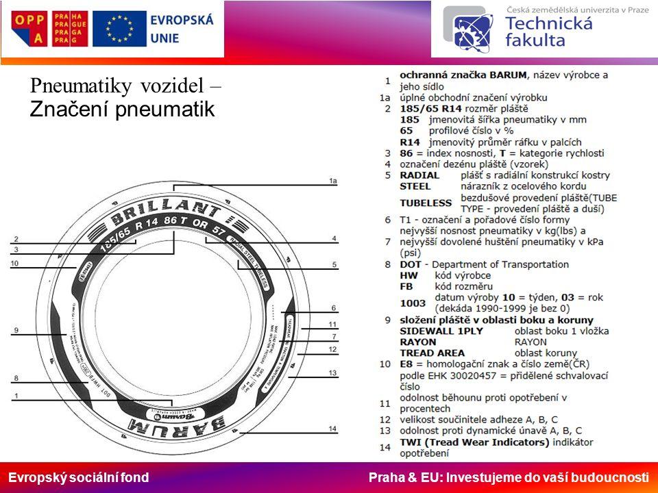 Evropský sociální fond Praha & EU: Investujeme do vaší budoucnosti Pneumatiky vozidel – Značení pneumatik