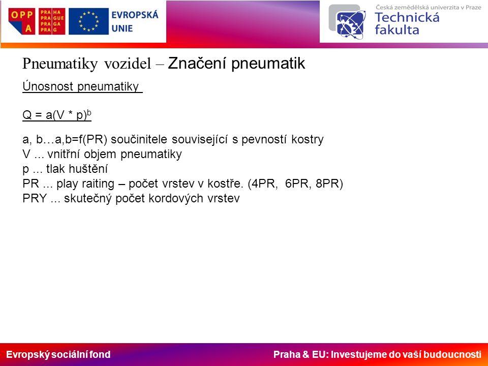 Evropský sociální fond Praha & EU: Investujeme do vaší budoucnosti Pneumatiky vozidel – Značení pneumatik Únosnost pneumatiky Q = a(V * p) b a, b…a,b=f(PR) součinitele související s pevností kostry V...