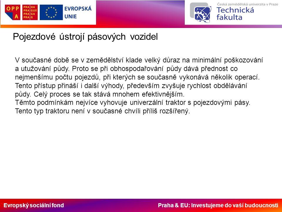 Evropský sociální fond Praha & EU: Investujeme do vaší budoucnosti Pojezdové ústrojí pásových vozidel V současné době se v zemědělství klade velký důraz na minimální poškozování a utužování půdy.