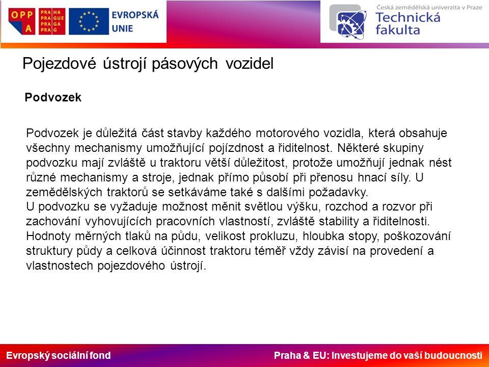 Evropský sociální fond Praha & EU: Investujeme do vaší budoucnosti Pojezdové ústrojí pásových vozidel Podvozek je důležitá část stavby každého motorového vozidla, která obsahuje všechny mechanismy umožňující pojízdnost a řiditelnost.