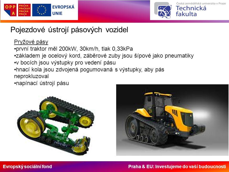 Evropský sociální fond Praha & EU: Investujeme do vaší budoucnosti Pojezdové ústrojí pásových vozidel Pryžové pásy první traktor měl 200kW, 30km/h, tlak 0,33kPa základem je ocelový kord, záběrové zuby jsou šípové jako pneumatiky v bocích jsou výstupky pro vedení pásu hnací kola jsou zdvojená pogumovaná s výstupky, aby pás neprokluzoval napínací ústrojí pásu