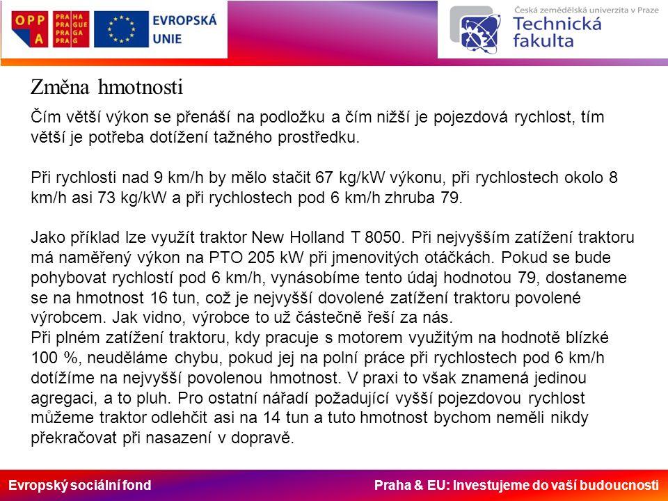 Evropský sociální fond Praha & EU: Investujeme do vaší budoucnosti Změna hmotnosti Čím větší výkon se přenáší na podložku a čím nižší je pojezdová rychlost, tím větší je potřeba dotížení tažného prostředku.