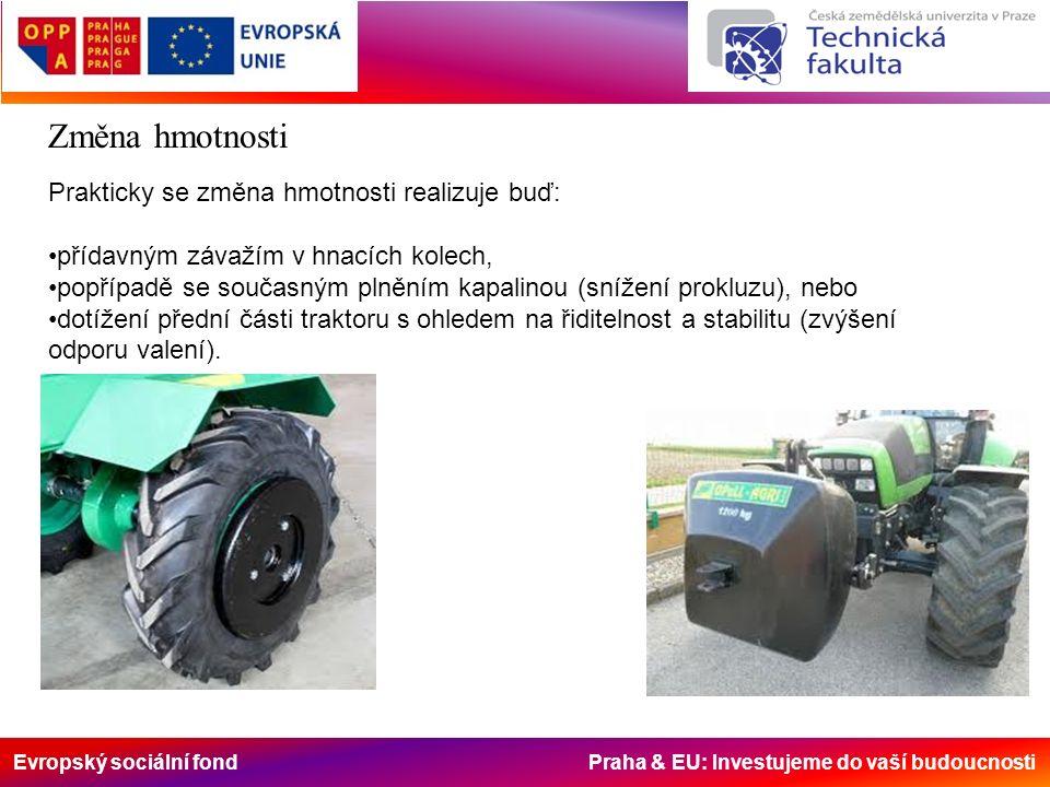 Evropský sociální fond Praha & EU: Investujeme do vaší budoucnosti Změna hmotnosti Prakticky se změna hmotnosti realizuje buď: přídavným závažím v hnacích kolech, popřípadě se současným plněním kapalinou (snížení prokluzu), nebo dotížení přední části traktoru s ohledem na řiditelnost a stabilitu (zvýšení odporu valení).