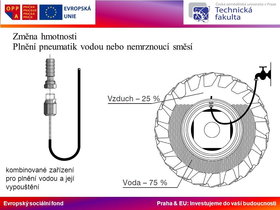 Evropský sociální fond Praha & EU: Investujeme do vaší budoucnosti Změna hmotnosti Plnění pneumatik vodou nebo nemrznoucí směsí kombinované zařízení pro plnění vodou a její vypouštění