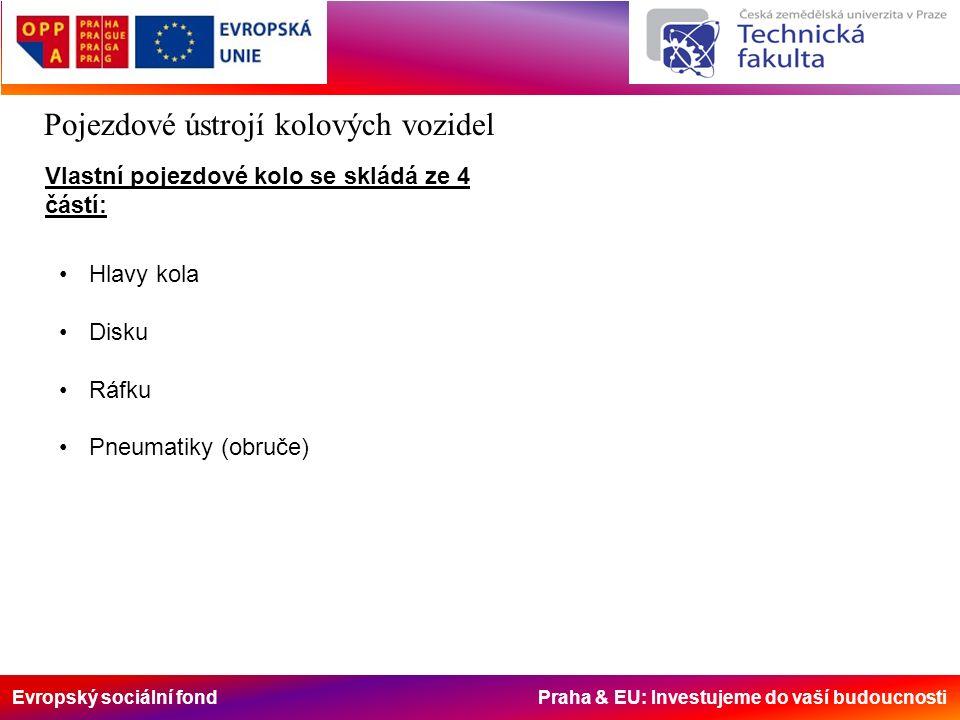 Evropský sociální fond Praha & EU: Investujeme do vaší budoucnosti Pojezdové ústrojí kolových vozidel Vlastní pojezdové kolo se skládá ze 4 částí: Hlavy kola Disku Ráfku Pneumatiky (obruče)