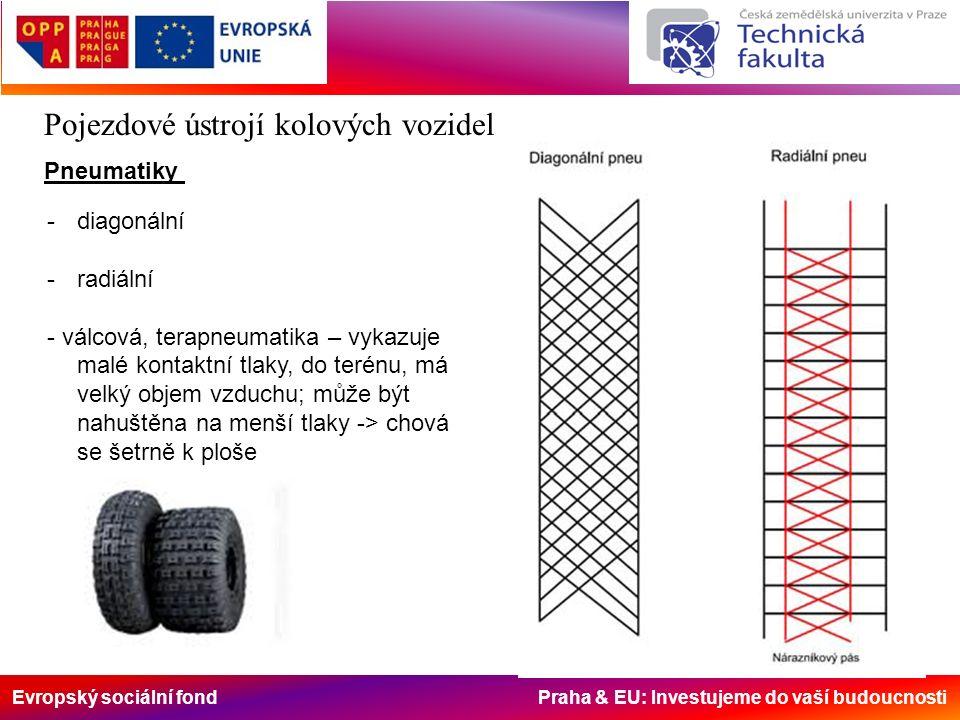 Evropský sociální fond Praha & EU: Investujeme do vaší budoucnosti Pojezdové ústrojí kolových vozidel Pneumatiky -diagonální -radiální - válcová, terapneumatika – vykazuje malé kontaktní tlaky, do terénu, má velký objem vzduchu; může být nahuštěna na menší tlaky -> chová se šetrně k ploše
