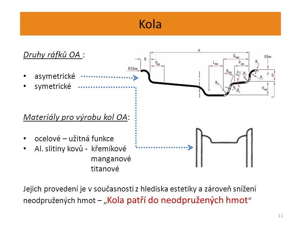 Kola 11 Druhy ráfků OA : asymetrické symetrické Materiály pro výrobu kol OA: ocelové – užitná funkce Al.