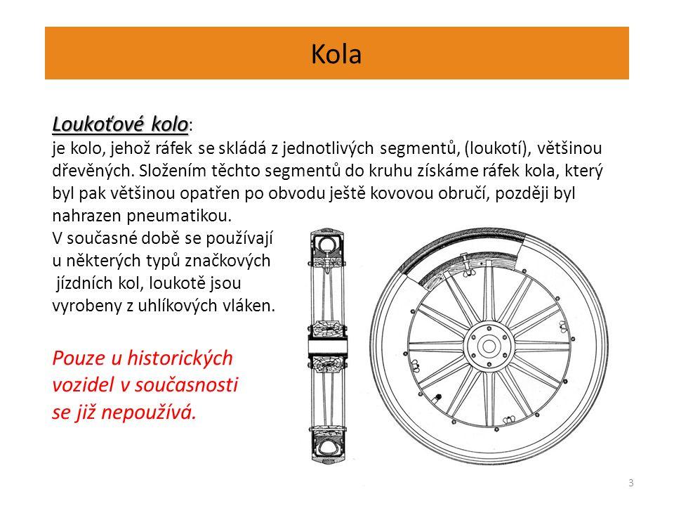 Kola 4 Kola disková kola jsou používaná u osobních i nákladních automobilů disky jsou lisovány z ocelového plechu a jsou s ráfkem spojeny nýtováním nebo svařováním disk bývá opatřen otvory, které snižují hmotnost a přispívají k chlazení brzd kola mohou být provedena i jako odlitky z lehkých slitin Kola hvězdicová disk je nahrazen hvězdicí, obvykle šestiramennou pro osobní automobily jsou hvězdice lisovány z poměrně tenkého ocelového plechu (hmotnost) pro nákladní automobily se hvězdice odlévají s hlavou v celku a jsou většinou opatřeny děleným ráfkem.