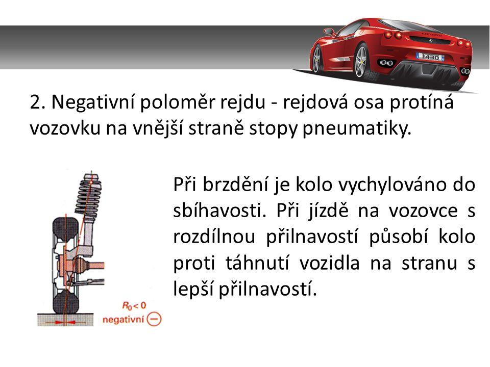 2. Negativní poloměr rejdu - rejdová osa protíná vozovku na vnější straně stopy pneumatiky.