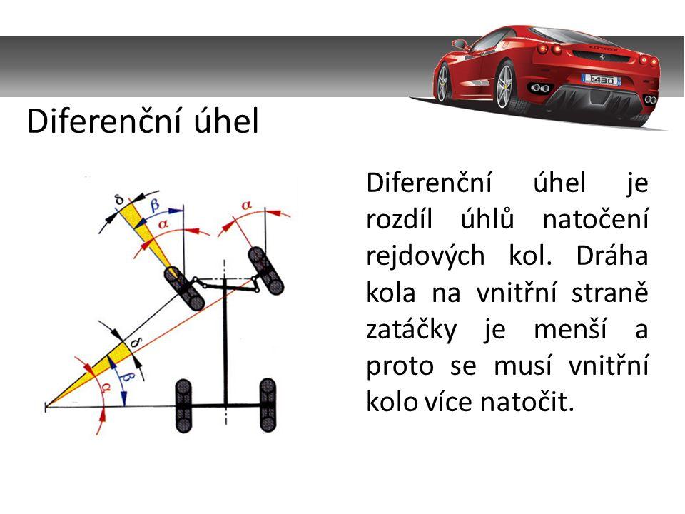 Diferenční úhel je rozdíl úhlů natočení rejdových kol.