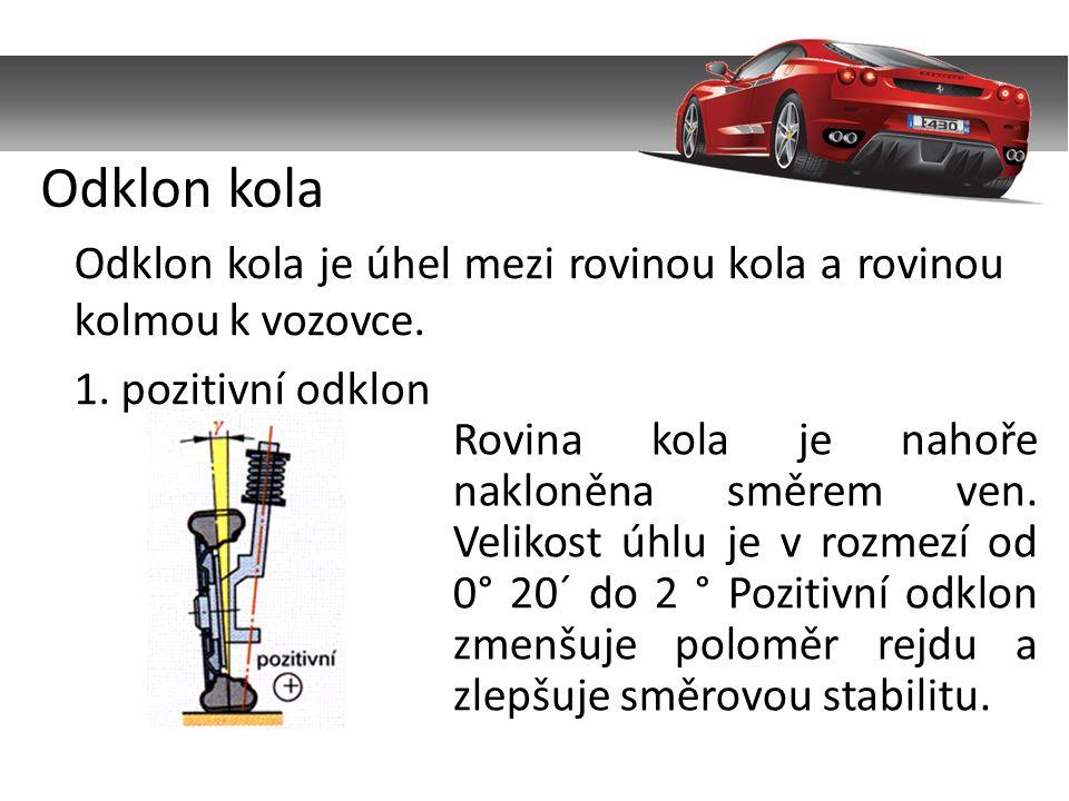 Odklon kola je úhel mezi rovinou kola a rovinou kolmou k vozovce.