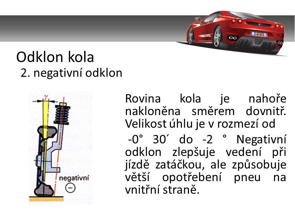 Odklon kola 2. negativní odklon Rovina kola je nahoře nakloněna směrem dovnitř.