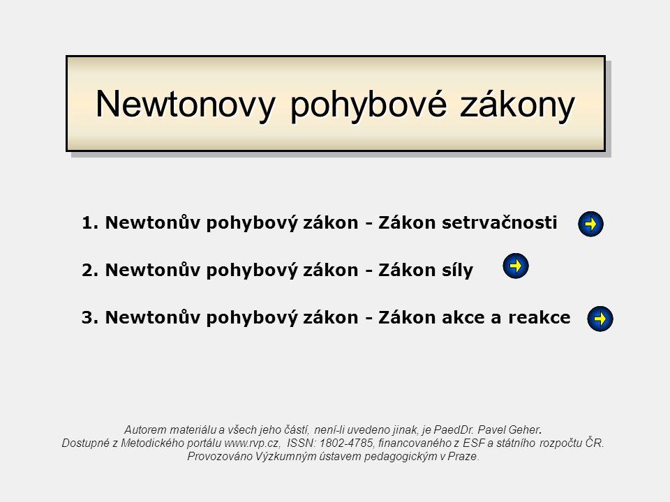 Definice zákona Setrvačnost těles Příklady 1. Newtonův pohybový zákon - Zákon setrvačnosti