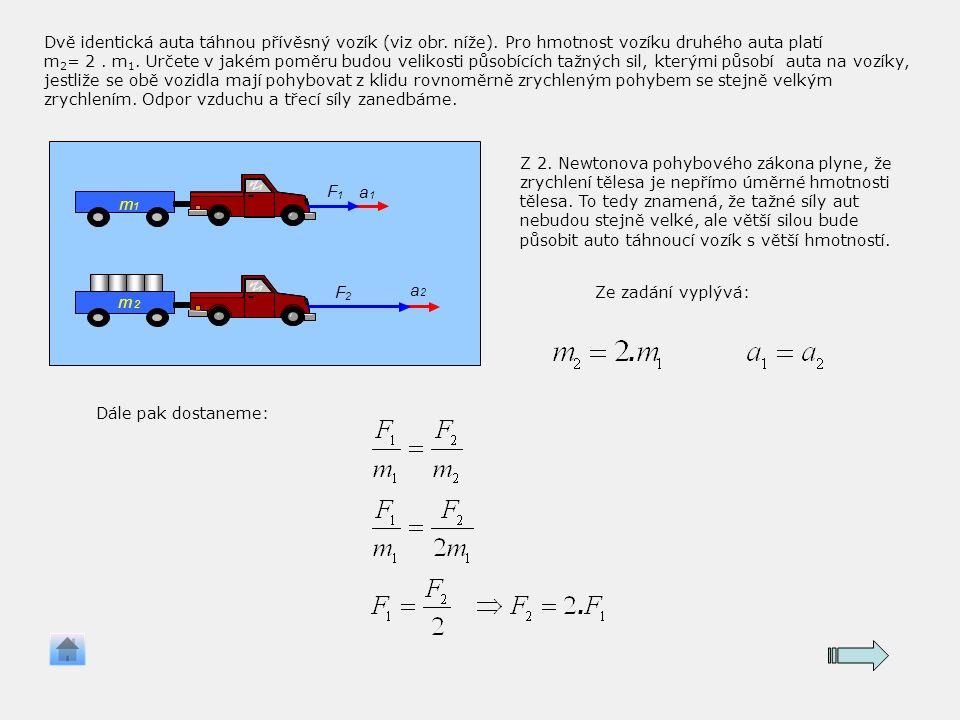 F 1 a 1 F 2 a 2 m 1 m 2 F 1 a 1 F 2 a 2 m 1 m 2 Dvě identická auta táhnou přívěsný vozík (viz obr.