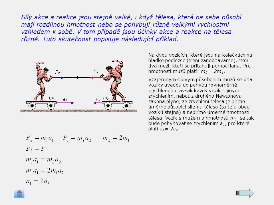 Síly akce a reakce jsou stejně velké, i když tělesa, která na sebe působí mají rozdílnou hmotnost nebo se pohybují různě velkými rychlostmi vzhledem k sobě.