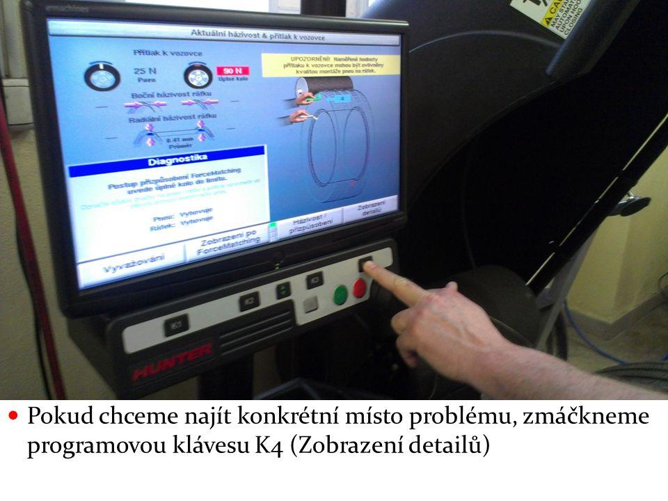 Pokud chceme najít konkrétní místo problému, zmáčkneme programovou klávesu K4 (Zobrazení detailů)