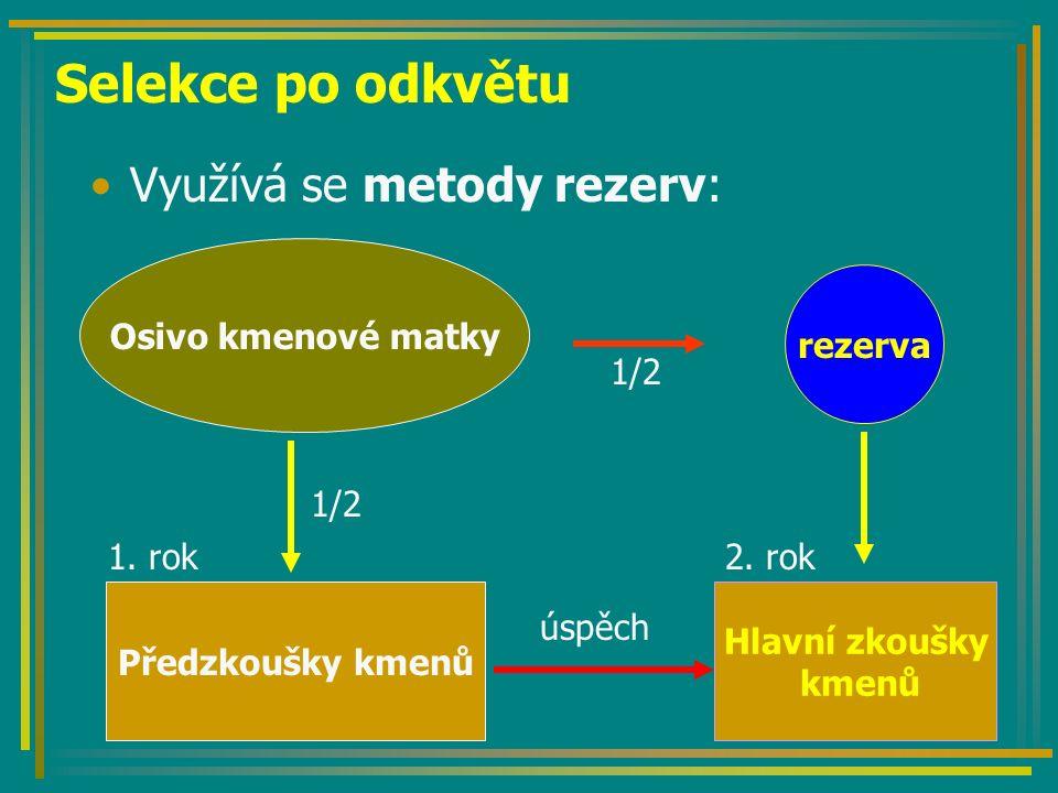 Selekce po odkvětu Využívá se metody rezerv: Osivo kmenové matky rezerva Předzkoušky kmenů 1. rok Hlavní zkoušky kmenů 2. rok 1/21/2 1/21/2 úspěch