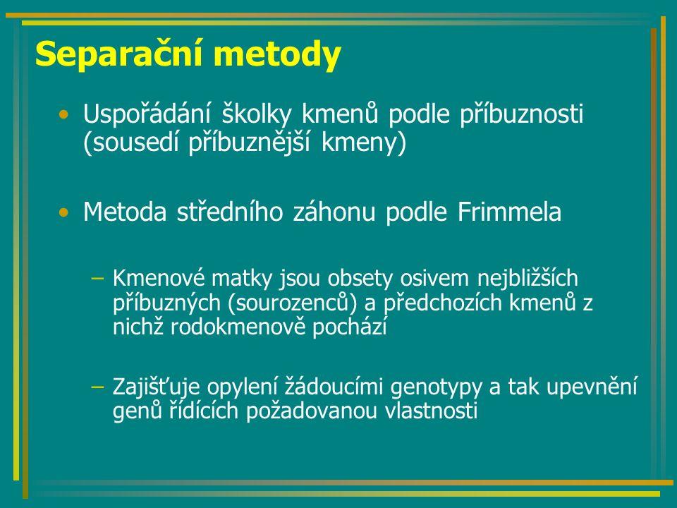 Separační metody Uspořádání školky kmenů podle příbuznosti (sousedí příbuznější kmeny) Metoda středního záhonu podle Frimmela –Kmenové matky jsou obse