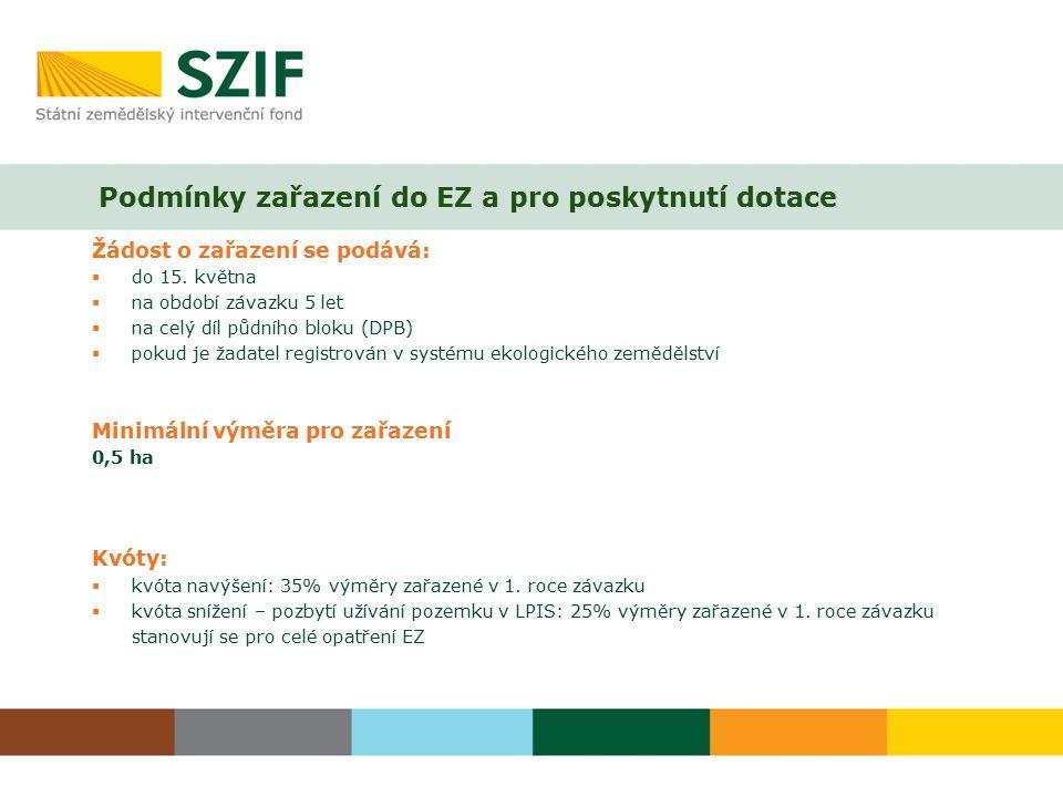 Podmínky zařazení do EZ a pro poskytnutí dotace Žádost o zařazení se podává:  do 15.