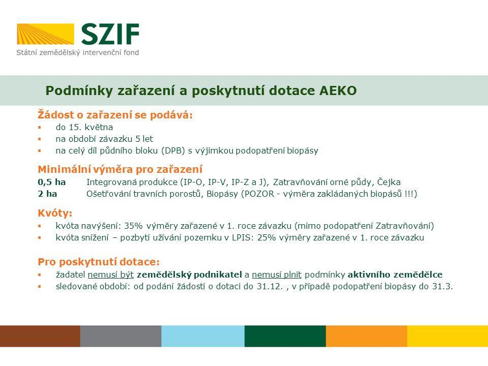 Podmínky zařazení a poskytnutí dotace AEKO Žádost o zařazení se podává:  do 15.