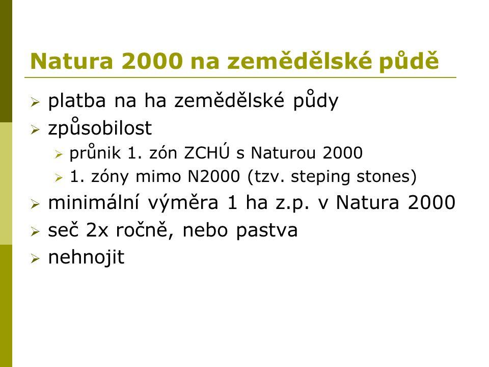 Natura 2000 na zemědělské půdě  platba na ha zemědělské půdy  způsobilost  průnik 1. zón ZCHÚ s Naturou 2000  1. zóny mimo N2000 (tzv. steping sto
