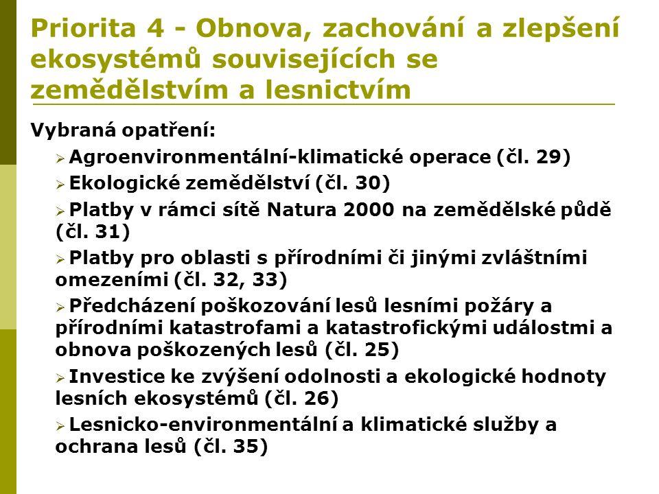 Priorita 4 - Obnova, zachování a zlepšení ekosystémů souvisejících se zemědělstvím a lesnictvím Vybraná opatření:  Agroenvironmentální-klimatické ope