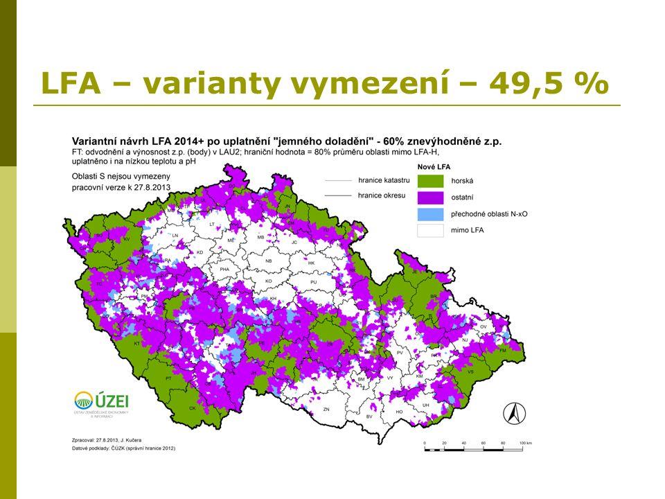 LFA – varianty vymezení – 49,5 %