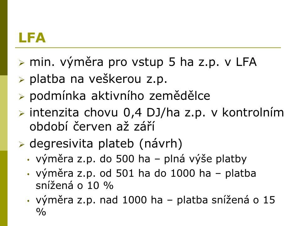 LFA  min. výměra pro vstup 5 ha z.p. v LFA  platba na veškerou z.p.  podmínka aktivního zemědělce  intenzita chovu 0,4 DJ/ha z.p. v kontrolním obd