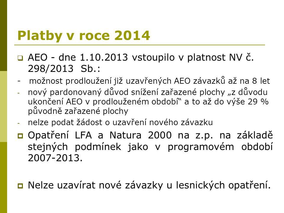 Platby v roce 2014  AEO - dne 1.10.2013 vstoupilo v platnost NV č. 298/2013 Sb.: - možnost prodloužení již uzavřených AEO závazků až na 8 let - nový