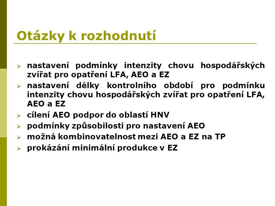 Otázky k rozhodnutí  nastavení podmínky intenzity chovu hospodářských zvířat pro opatření LFA, AEO a EZ  nastavení délky kontrolního období pro podmínku intenzity chovu hospodářských zvířat pro opatření LFA, AEO a EZ  cílení AEO podpor do oblastí HNV  podmínky způsobilosti pro nastavení AEO  možná kombinovatelnost mezi AEO a EZ na TP  prokázání minimální produkce v EZ