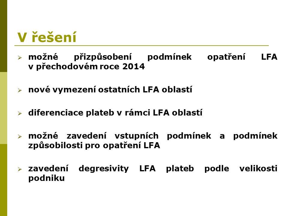 V řešení  možné přizpůsobení podmínek opatření LFA v přechodovém roce 2014  nové vymezení ostatních LFA oblastí  diferenciace plateb v rámci LFA oblastí  možné zavedení vstupních podmínek a podmínek způsobilosti pro opatření LFA  zavedení degresivity LFA plateb podle velikosti podniku