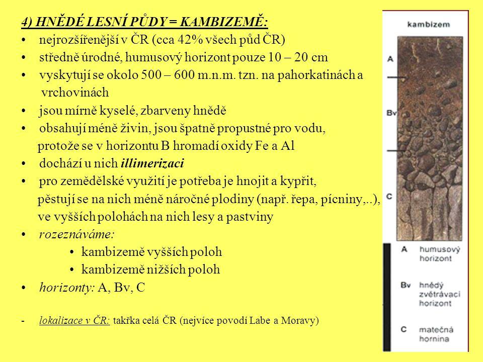 4) HNĚDÉ LESNÍ PŮDY = KAMBIZEMĚ: nejrozšířenější v ČR (cca 42% všech půd ČR) středně úrodné, humusový horizont pouze 10 – 20 cm vyskytují se okolo 500