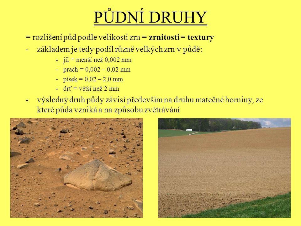 PŮDNÍ DRUHY = rozlišení půd podle velikosti zrn = zrnitosti = textury -základem je tedy podíl různě velkých zrn v půdě: -jíl = menší než 0,002 mm -pra