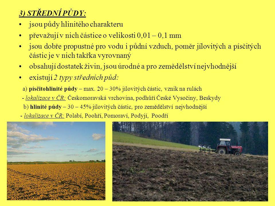 3) STŘEDNÍ PŮDY: jsou půdy hlinitého charakteru převažují v nich částice o velikosti 0,01 – 0,1 mm jsou dobře propustné pro vodu i půdní vzduch, poměr