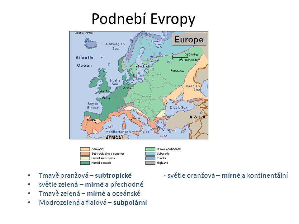 Podnebí Evropy Tmavě oranžová – subtropické - světle oranžová – mírné a kontinentální světle zelená – mírné a přechodné Tmavě zelená – mírné a oceánské Modrozelená a fialová – subpolární