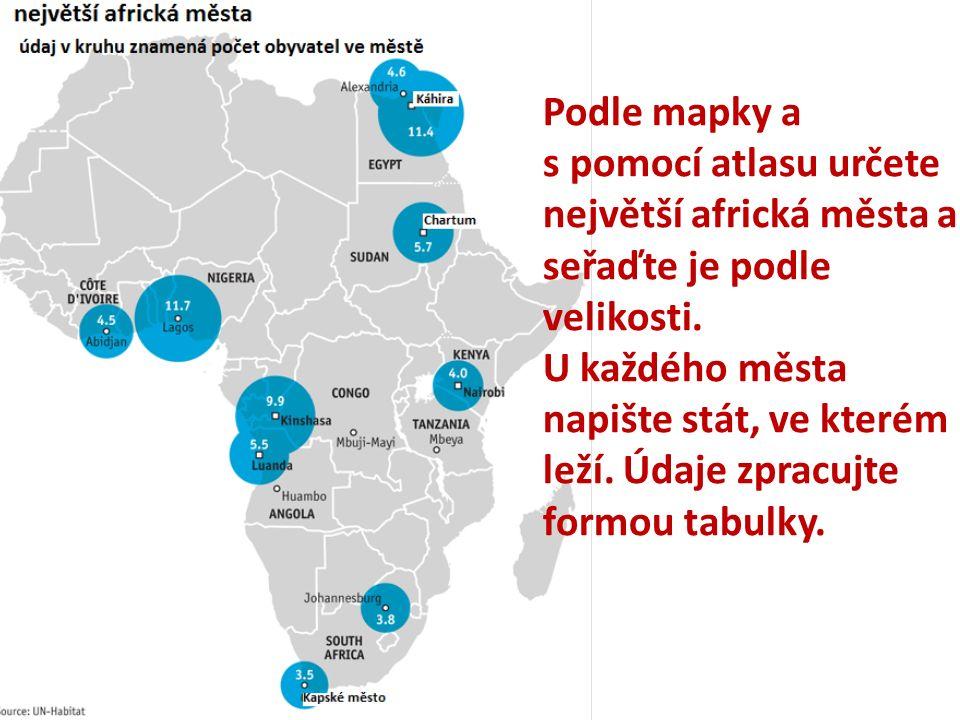 Podle mapky a s pomocí atlasu určete největší africká města a seřaďte je podle velikosti. U každého města napište stát, ve kterém leží. Údaje zpracujt