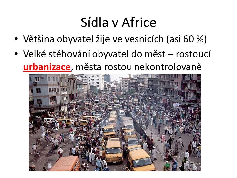 Sídla v Africe Většina obyvatel žije ve vesnicích (asi 60 %) Velké stěhování obyvatel do měst – rostoucí urbanizace, města rostou nekontrolovaně