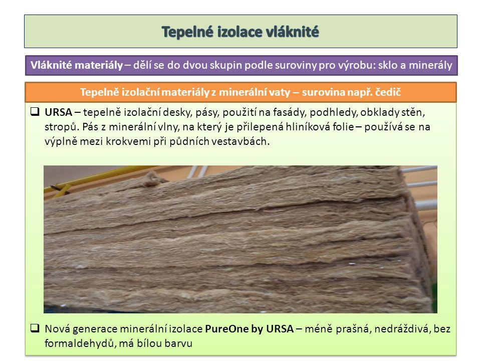 Vláknité materiály – dělí se do dvou skupin podle suroviny pro výrobu: sklo a minerály  URSA – tepelně izolační desky, pásy, použití na fasády, podhledy, obklady stěn, stropů.