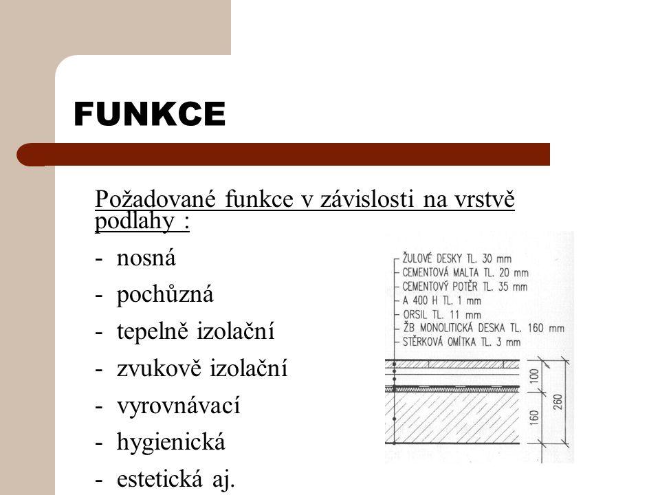 FUNKCE Požadované funkce v závislosti na vrstvě podlahy : - nosná - pochůzná - tepelně izolační - zvukově izolační - vyrovnávací - hygienická - estetická aj.