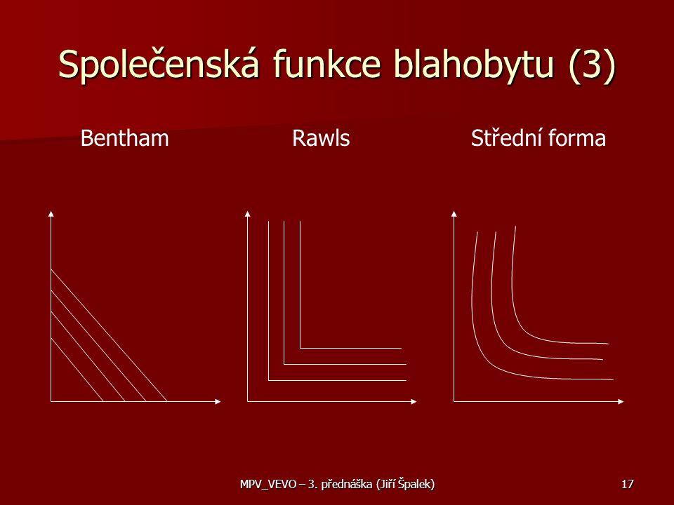 MPV_VEVO – 3. přednáška (Jiří Špalek)17 BenthamRawlsStřední forma Společenská funkce blahobytu (3)