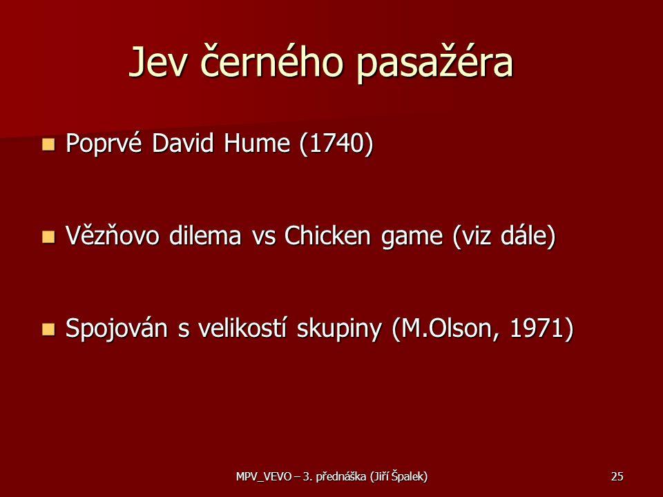 Jev černého pasažéra Poprvé David Hume (1740) Poprvé David Hume (1740) Vězňovo dilema vs Chicken game (viz dále) Vězňovo dilema vs Chicken game (viz dále) Spojován s velikostí skupiny (M.Olson, 1971) Spojován s velikostí skupiny (M.Olson, 1971) 25MPV_VEVO – 3.