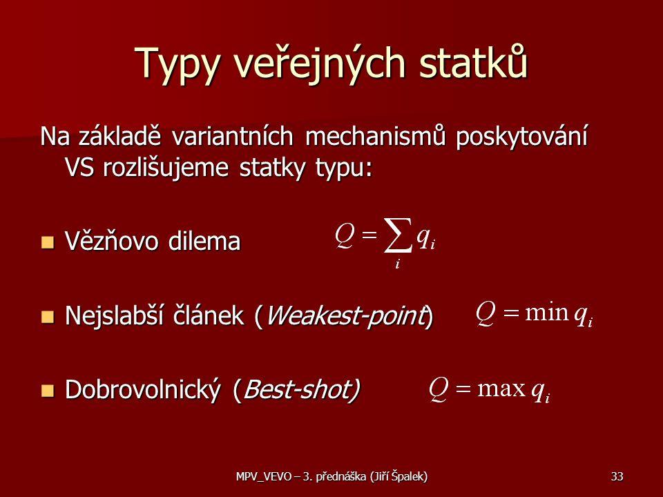 Typy veřejných statků Na základě variantních mechanismů poskytování VS rozlišujeme statky typu: Vězňovo dilema Vězňovo dilema Nejslabší článek (Weakest-point) Nejslabší článek (Weakest-point) Dobrovolnický (Best-shot) Dobrovolnický (Best-shot) 33MPV_VEVO – 3.