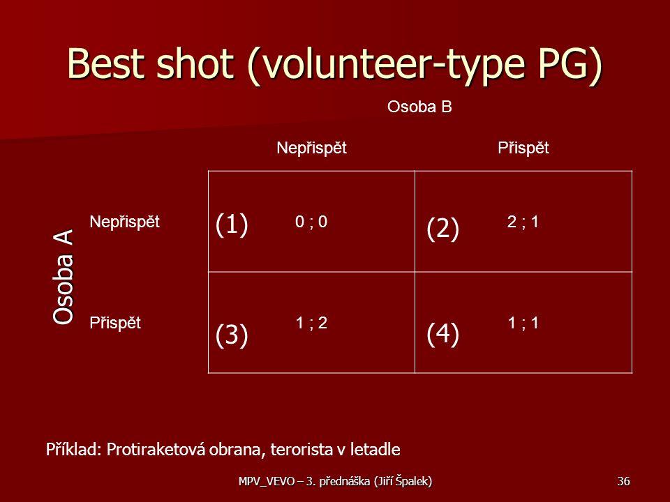 Best shot (volunteer-type PG) Osoba B NepřispětPřispět Nepřispět0 ; 02 ; 1 Přispět1 ; 21 ; 1 Osoba A (1) (2) (4) (3) Příklad: Protiraketová obrana, terorista v letadle 36MPV_VEVO – 3.
