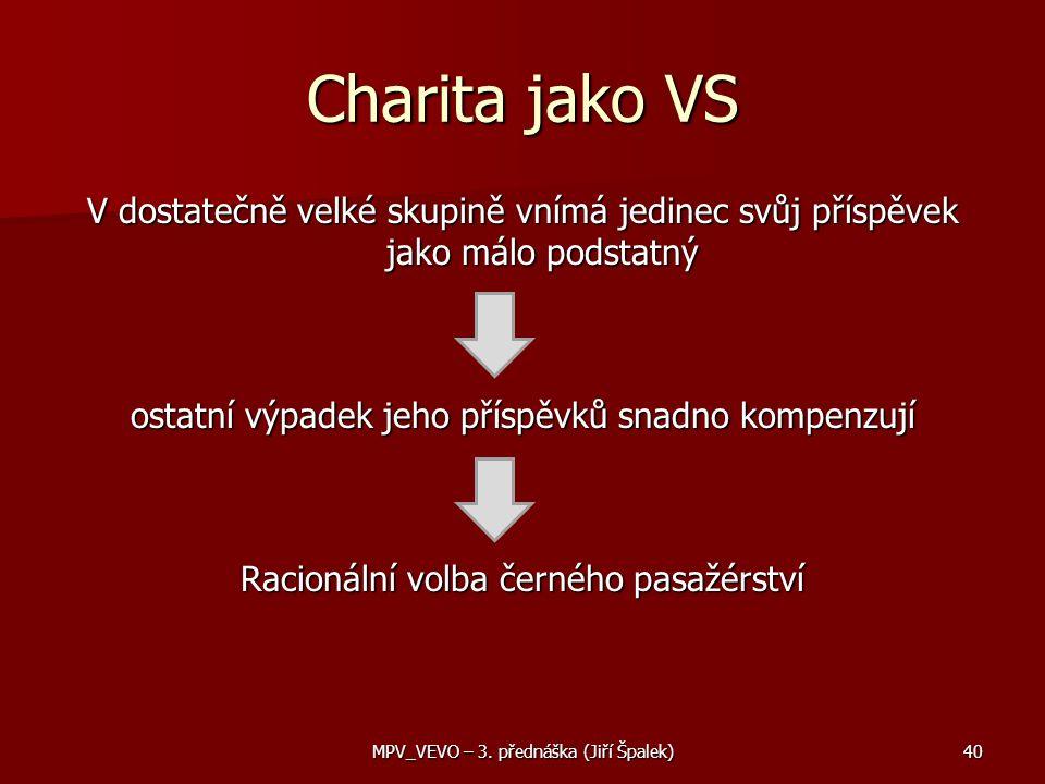 Charita jako VS V dostatečně velké skupině vnímá jedinec svůj příspěvek jako málo podstatný ostatní výpadek jeho příspěvků snadno kompenzují Racionální volba černého pasažérství 40MPV_VEVO – 3.