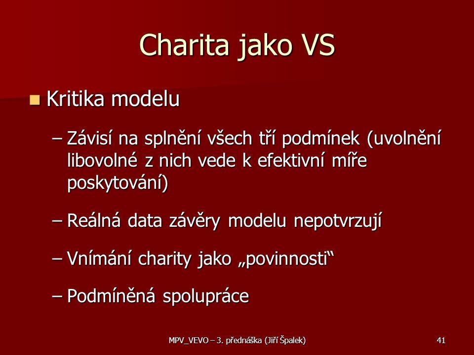 """Charita jako VS Kritika modelu Kritika modelu –Závisí na splnění všech tří podmínek (uvolnění libovolné z nich vede k efektivní míře poskytování) –Reálná data závěry modelu nepotvrzují –Vnímání charity jako """"povinnosti –Podmíněná spolupráce 41MPV_VEVO – 3."""