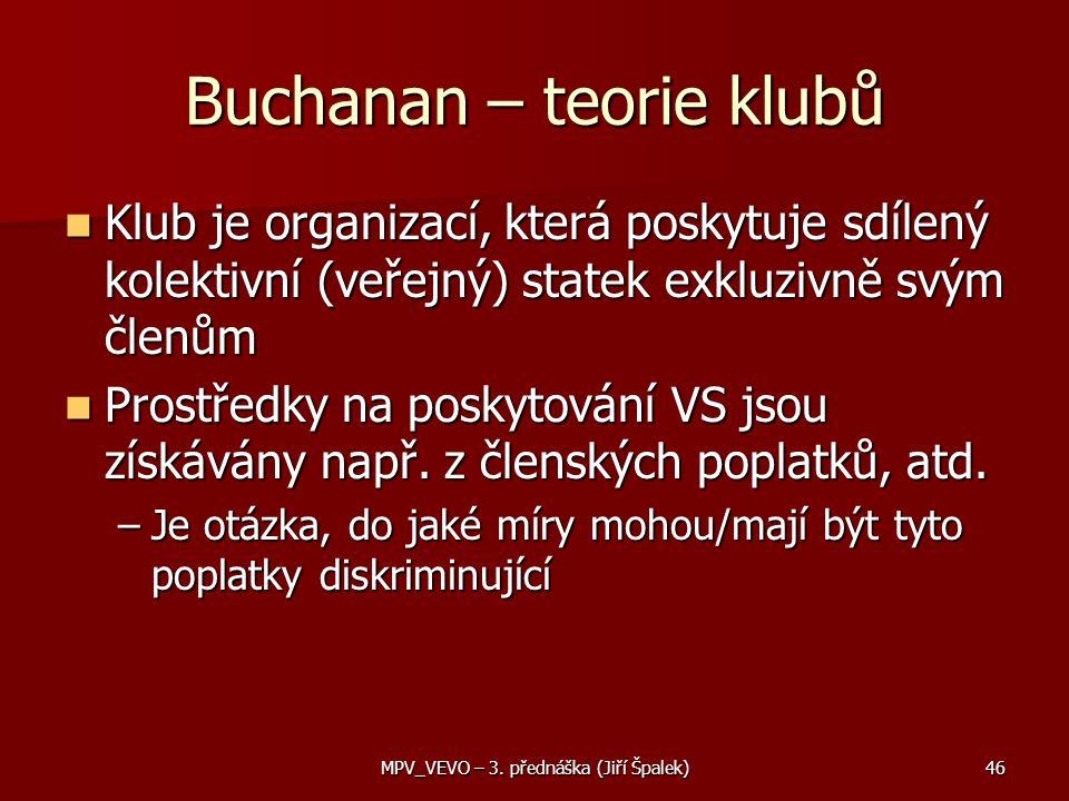 Buchanan – teorie klubů Klub je organizací, která poskytuje sdílený kolektivní (veřejný) statek exkluzivně svým členům Klub je organizací, která poskytuje sdílený kolektivní (veřejný) statek exkluzivně svým členům Prostředky na poskytování VS jsou získávány např.