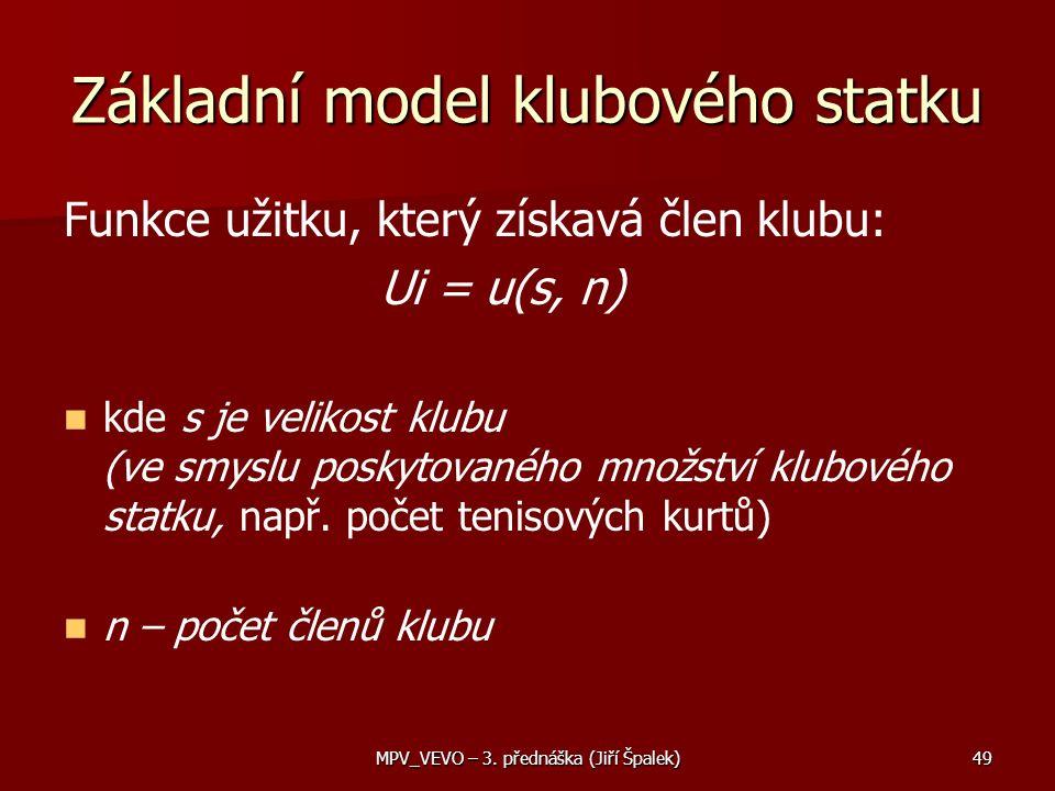 Základní model klubového statku Funkce užitku, který získavá člen klubu: Ui = u(s, n) kde s je velikost klubu (ve smyslu poskytovaného množství klubového statku, např.