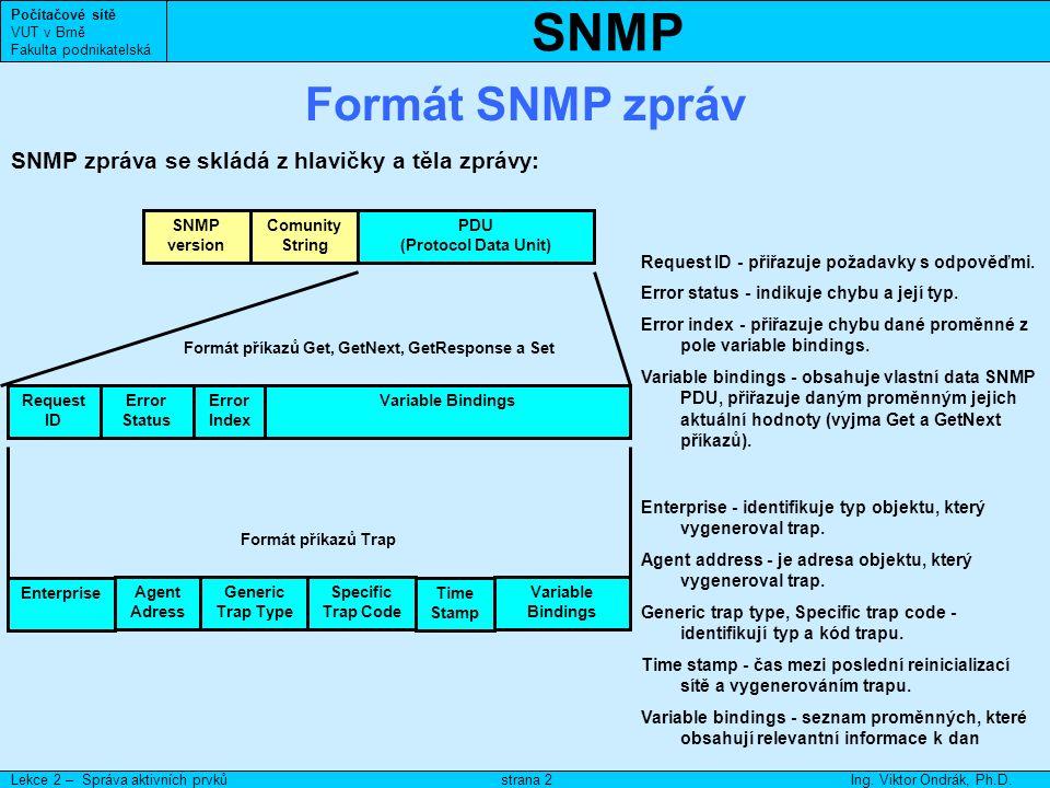 SNMP Počítačové sítě VUT v Brně Fakulta podnikatelská Lekce 2 – Správa aktivních prvkůIng.