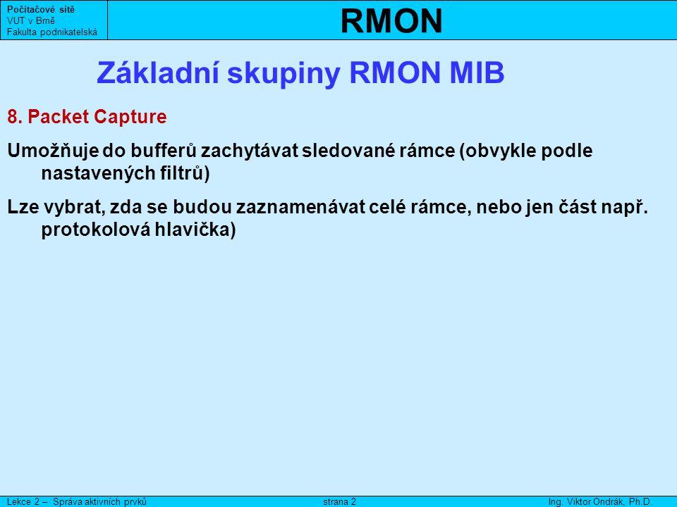 RMON Počítačové sítě VUT v Brně Fakulta podnikatelská Lekce 2 – Správa aktivních prvkůIng.
